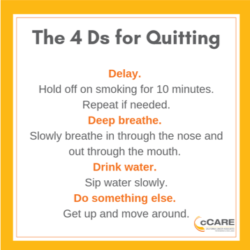 Graphic representation the 4Ds for quitting smoking | cCARE | San Diego, CA